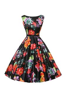 Women's Party Casual/Daily Vintage A Line Skater Dress,Floral Print Round Neck Knee-length Sleeveless Dress