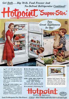 1952 Hotpoint Refrigerator Freezer Ad - 1950s Retro Kitchen Housewife