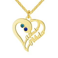 Post Included Aus Wide and to most international countries! >>>  Double Hearts Curl Name & Birthstone Necklace - 925 Sterling Silver with Gold Plating