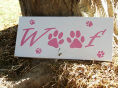 Dog Sign, Leash Hook, Animal Sign, Woof Dog Sign, Pets, Animal Lovers, Puppies, Paw Prints, customizable, Leash Hanger - pinned by pin4etsy.com