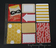 Disney Pixar Cards and Project Life Honey Edition; Incredibles scrapbook page layout idea.