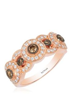 Chocolate Diamonds And Ct. Vanilla Diamonds Ring In Strawberry Gold™. This gorgeous Le Vian ring features ct. Chocolate Diamonds and ct. Vanilla Diamonds set in Strawberry Gold™. Diamond Ring Settings, Diamond Rings, Chocolate Diamond Wedding Rings, Dream Engagement Rings, Fine Jewelry, Jewelry Box, White Gold Rings, Colored Diamonds, Le Vian