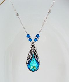 New Swarovski Bermuda Blue Crystal Antique by HisJewelsCreations