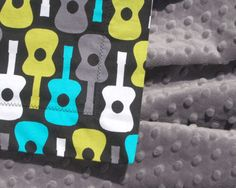 Toddler Size Minky Blanket - Michael Miller Lagoon Groovy Guitars with Jade Green Minky - Personalization Available. $42.00, via Etsy.