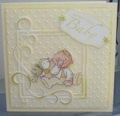 Plaatje is van Eline, het kader van Leane en de stippeltjes van Crafts too, labeltje van  X-cut en zo krijg je toch een leuk kaartje.
