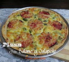 Pizza de Salame y jalapeño, anímese, hágala usted y disfrute diferentes sabores.