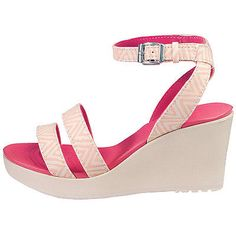 Crocs Leigh Graphic Wedge Womens 15313-6KM Melon Pink Sandals Shoes Wmns Size 8