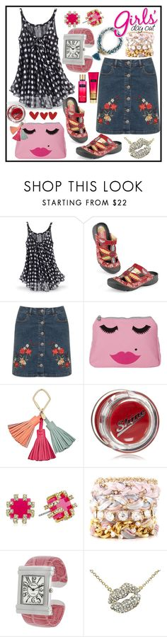 """""""Embroidered Denim Skirt"""" by westcoastcharmed ❤ liked on Polyvore featuring WearAll, Emma Lomax, FOSSIL, Lipstick Queen, Trina Turk, Ettika, Geneva and Victoria's Secret"""