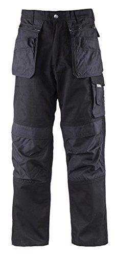 TMG® - Pantalon de travail cargo - résistant/poches - Cordura® - homme - noir (W32 / EU48)