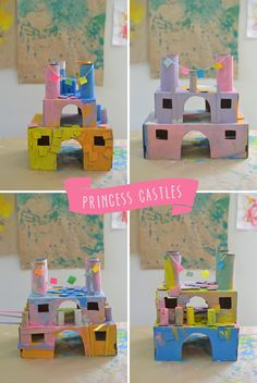 make these beautiful princess castles from recycled materials ~ perfect summer art camp project Princess Activities, Princess Crafts, Princess Art, Princess Castle, Toddler Activities, Activities For Kids, Princess Theme, Kids Crafts, Crafts To Do