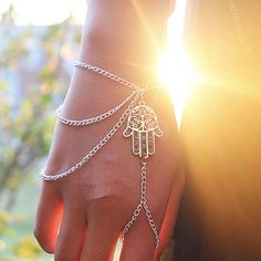 Hamsa hand of #fatima #slave chain bracelet boho #buddhist #slave chain ring bangl,  View more on the LINK: http://www.zeppy.io/product/gb/2/322173952835/