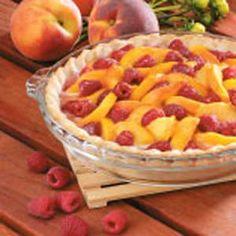 Raspberry Peach Pie ~ Mmmm! Can't wait till Peach season! I've also made Blueberry Peach Pie that is also Devine!