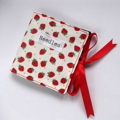 Handmade Sewing Needle Holder with Strawberry Print Cotton £6.00