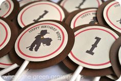Cowboy Cupcake Toppers by TheGreenGrassGrows on Etsy, $18.00