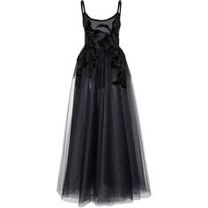 Elie Saab A-line Tulle Dress ($7,325) ❤ liked on Polyvore featuring dresses, black, embroidered tulle dress, beaded cocktail dress, spaghetti strap cocktail dress, beaded dress and tulle cocktail dresses