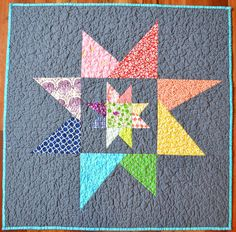 Liberated (emergency) Baby Quilt - back - wonky stars, via Flickr.