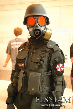 Callsign Rice Bandit from Resident Evil cosplayed by Umbrella Corporation