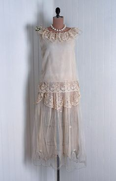 1920's Antique Vintage Ethereal Embroidered-Floral French Net-Lace and Pure-Silk Couture from Timeless Vixen Vintage