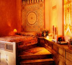 Arabic bedroom design - Practical & places the sleeping area above the living environment.