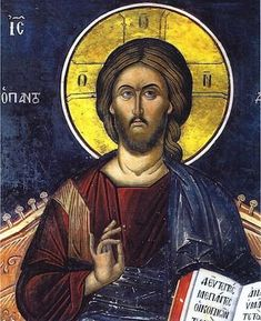 """Orthodox icon of our Lord Jesus Christ """"Enthrone"""" icon of 14 cent. Monastery of Dionysiou, Mount Athos Greece NOTICE: the sizes of the icon are approximately Christian Artwork, Christian Images, Byzantine Icons, Byzantine Art, Religious Icons, Religious Art, Christ Pantocrator, Jesus Painting, Biblical Art"""