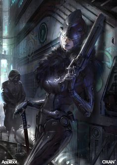 Carlitta – Cyber Mafia Boss Samurai – Chaos Drive character concept by OXAN