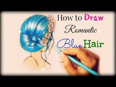 Drawing Tutorial ❤ How to draw and color Blue Purple Hair - YouTube