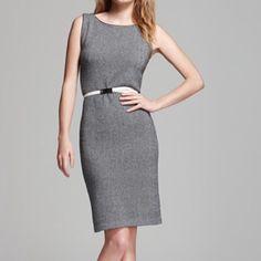 "❄️Cashmere herringbone shift dress C by Bloomingdales B&W herringbone sleeveless dress. Extra fine merino wool/cashmere. Size S. Measurements laid flat: bust 17""/ length 39"". Great condition! Bloomingdales Dresses Midi"
