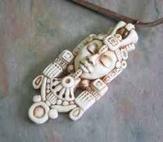 Tribal Warrior God Face Pendant Polymer clay by FaceARTifacts