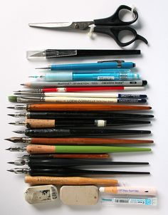 pens, pencils, brushes, scissors