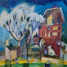 "Diane Culhane.  Title: Overview,   original, acrylic on canvas,  12""x12""x1"""