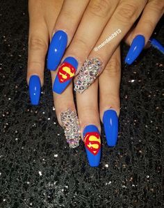 All of these nail designs happen to be as easy as they are lovely. If you're frequently looking for options and brand new designs, nail art designs are a way to display your character and to be original. Superman Nails, Superhero Nails, No Chip Nails, Special Nails, Plain Nails, Finger Nail Art, Gel Nails, Coffin Nails, Acrylic Nails