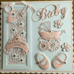 Baby Card by Sospecial Cards Sue Wilson and Marianne Dies. Baby Girl Cards, New Baby Cards, Baby Scrapbook, Scrapbook Cards, Baby Shower Invitaciones, Spellbinders Cards, Baby Shower Cards, Marianne Design, Baby Crafts