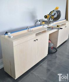 A miter saw station with all the bells and whistles. There is plenty of work space, stop blocks and loads of storage! Free building plans that can be adjusted to any miter saw. Woodworking Logo, Woodworking Bench, Woodworking Projects, Woodworking Patterns, Woodworking Machinery, Woodworking Shop Layout, Woodworking Quotes, Unique Woodworking, Woodworking Basics