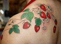 Red Strawberry With Green Leafs Tattoo On Shoulder