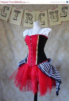 This can be custom made. Possibly harlequin bustle, black and white, etc