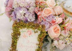 Garden floral and moss centerpiece