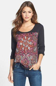 $39.50 - Free shipping and returns on Lucky Brand 'Ethnic Flower' Top at Nordstrom.com. A vibrant floral print emboldens a supersoft tee crafted from slub-knit cotton/modal jersey and styled with a flattering scooped neck. Raw edges detail the laid-back design.
