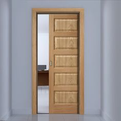 Genial Contemporary 5 Panel Oak Veneer Single Evokit Pocket Door   Prefinished