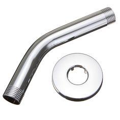 6 Inch Montura de pared cromada ducha brazo Cuarto de baño ducha extensión cabeza con reborde