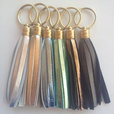Metallic Leather Tassel Keychains - Silver, Gold, Icy Blue, Seafoam Green, Bronze, Gunmetal - by pjandpoppy on Etsy, $16.00
