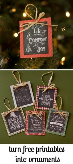 Turn Free Printables into Ornaments + a Round up of Free Chalkboard Printables! Turn free prints into ornaments + a summary of free chalkboard prints! Decoration Christmas, Noel Christmas, Diy Christmas Ornaments, Homemade Christmas, Christmas Projects, Winter Christmas, Holiday Crafts, Ornaments Ideas, Christmas Ideas