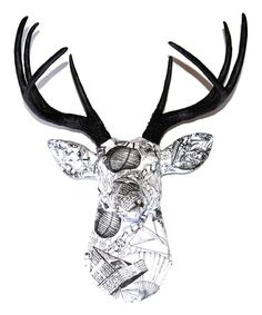 Art Sculpture Animal deer head antler faux taxidermy fabric deer home decor wall hanging anniversary black and white paper chain Paper products first anniversary paper anniversary near and deer First Anniversary Paper, Lodge Look, Black And White Fabric, Black White, Antler Art, Paper Chains, Strong Nails, Faux Taxidermy, Animal Heads