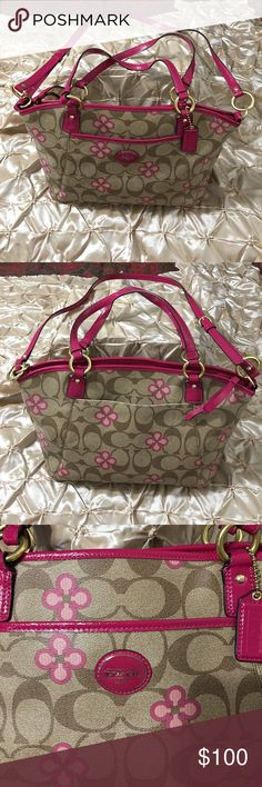 Coach Peyton Signature Clover Pocket Tote F21970 Coach Peyton Signature Clover Pocket Tote F21970. Has a spot inside on the liner.  See Picture! Coach Bags Totes