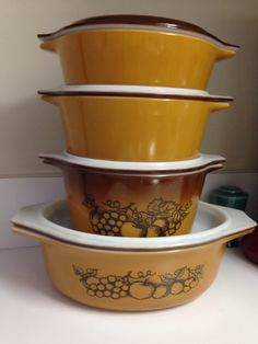 8 Piece Set Pyrex Old Orchard 043 473 472 471 Casseroles by thetrendykitchen on Etsy
