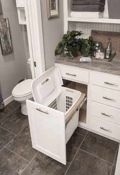 You are going to love these absolutely ingenious ideas and DIYs for bathroom.You are going to love these absolutely ingenious ideas and DIYs for bathroom organization and storage to help you create the most organized bathro. Bad Inspiration, Bathroom Inspiration, Bathroom Renos, Bathroom Cabinets, Bathroom Small, White Bathroom, Bathroom Towels, Bathroom Vanities, Peach Bathroom