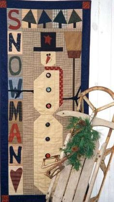 Pattern  Primitive Snowman Wall hanging by by PrimitiveQuilting, $7.00