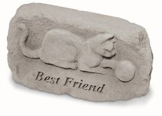 "KayBerry Garden Accent Pet Memorial Stone Cat plaque w/ Best friend 93820 by Garden Accents. $39.99. Product dimensions: 11 x 6 inches. Made in the USA. See our large line of KayBerry cast stone benches, garden stakes, garden accent stones, and memorial markers. Weatherproof; suitable for indoor or outdoor use. A lovely stone for cat lovers. This stone features the words ""Best friend"" and a raised embellishment of a playful cat or kitten. KayBerry has been suppl..."