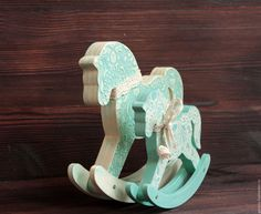 Buy Rocking horse Mother horse and baby-horse - turquoise, horse rocking