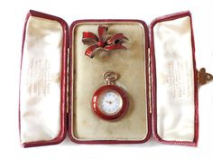 1900 British Ladies Pocket Watch with Chatelaine in Red Guilloche Enamel Rose Gold