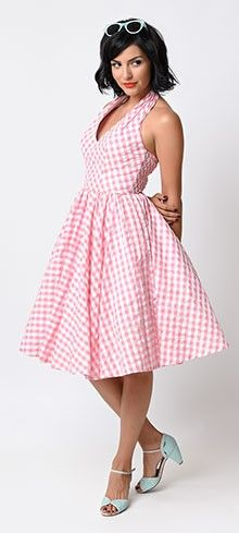 Iconic by UV 1950s Pink Gingham Halter San Vicente Swing Dress
